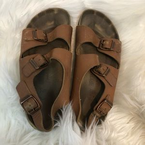 Birkenstock Brown Leather Classic Sandal Womens 6